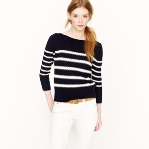 J.Crew Ripplestitch Striped Navy Sweater